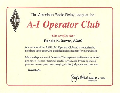 Click to Enlarge: ARRL A-1 Operator Club Certificate