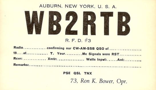 First General Class Card - WB2RTB